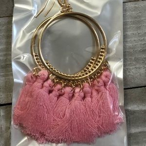 3 for $15 gold fashion earrings with pink tassels